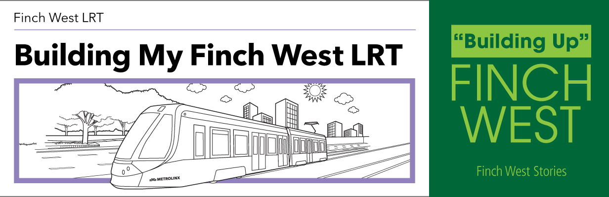 Building My Finch West LRT Postcard front of LRT Train drawing
